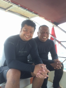 Me with Divemaster Ali Umasangadji (right), the best top macro spotter.